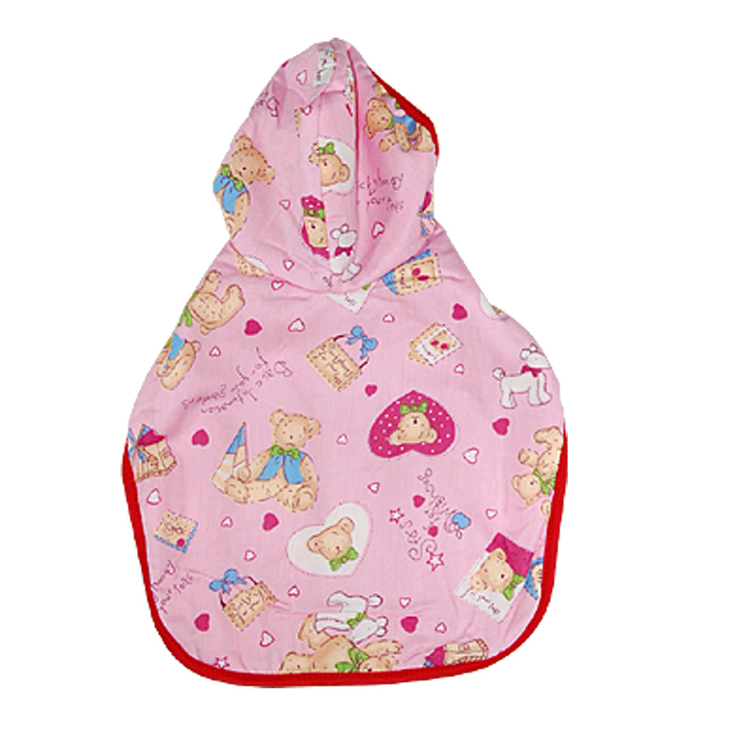 Pink Dog Clothes Cartoon Hooded Cape Soft Pet Sleepwear S