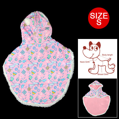 Pet Clothes S Dog Shawl Christmas Cape Hoodie Coat Pink