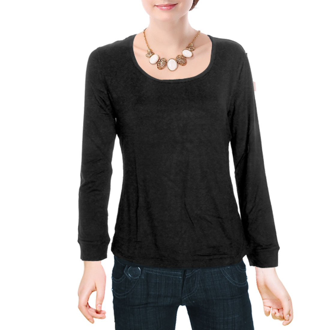 Ladies Black Round Neck Shirt Long Sleeve Stretch Top M