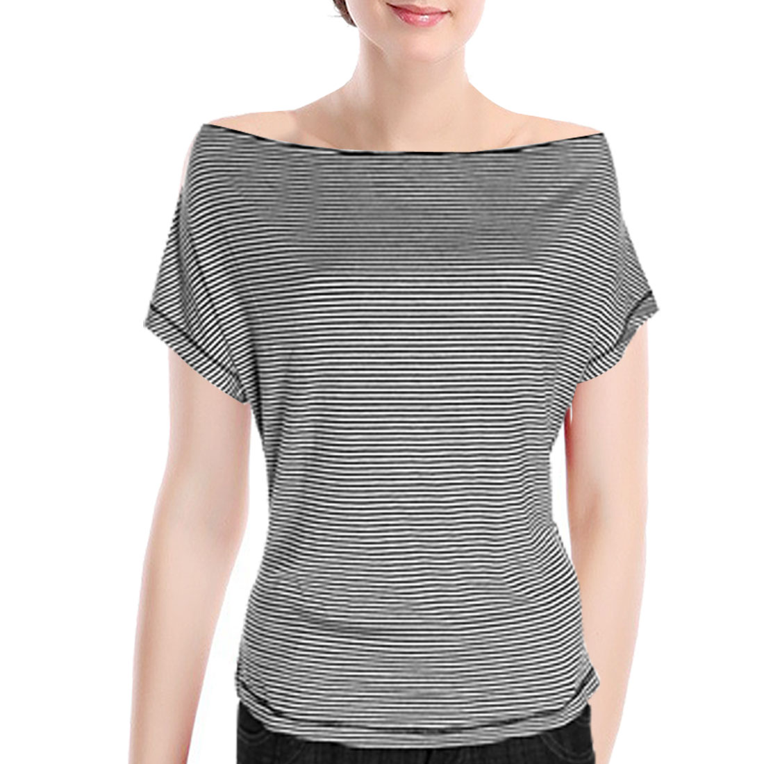 Ladies Striped Boat Neck Top Batwing T-Shirt L