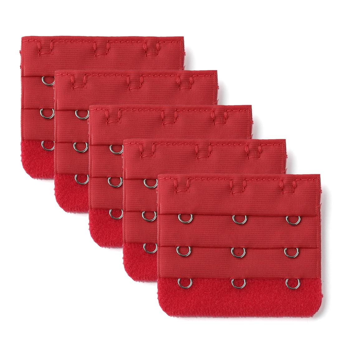 5 Pcs Red Bra 3x3 Hooks Extension Strap Extender
