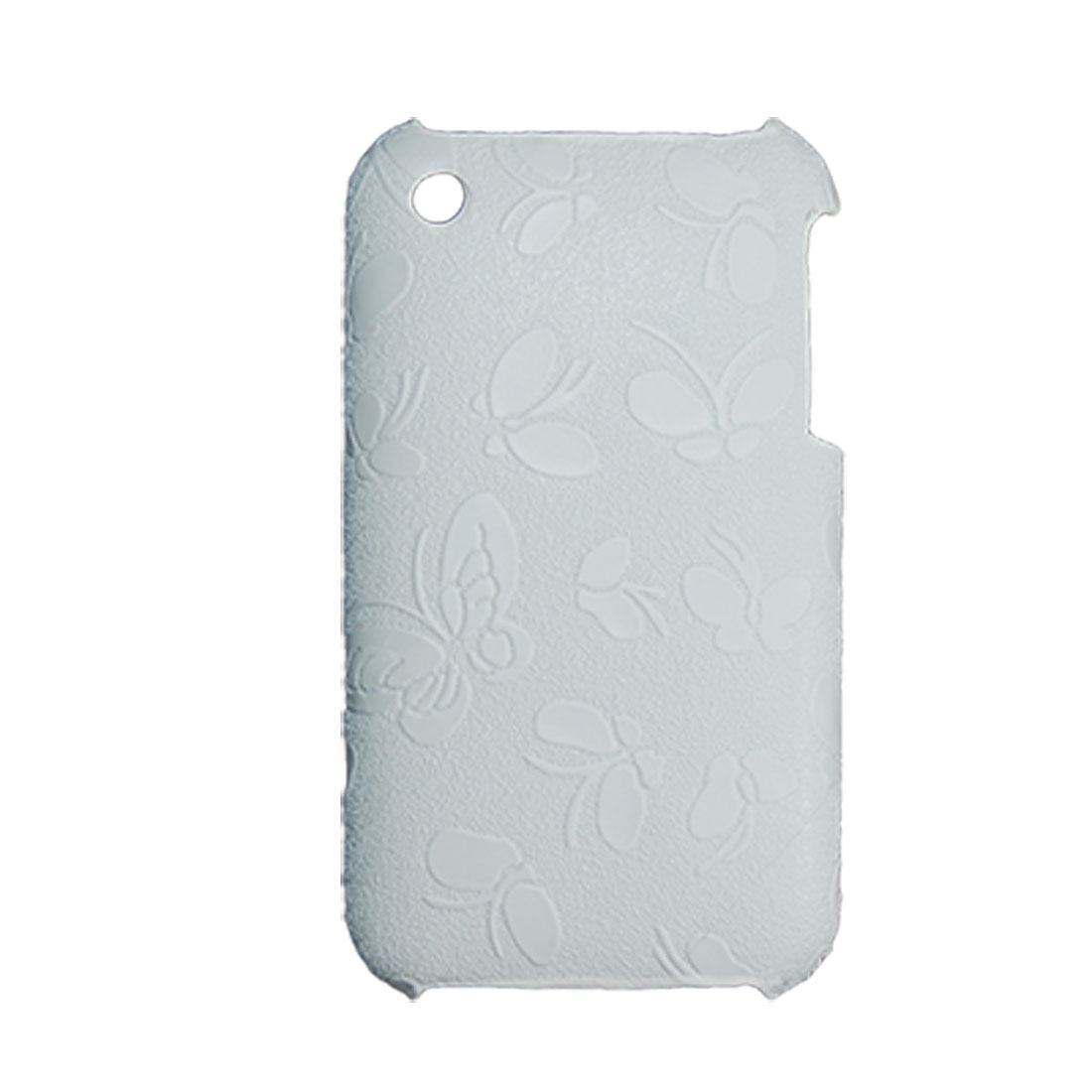 Non Slip Butterfly Pattern White Case + Screen Guard For iPhone 3G