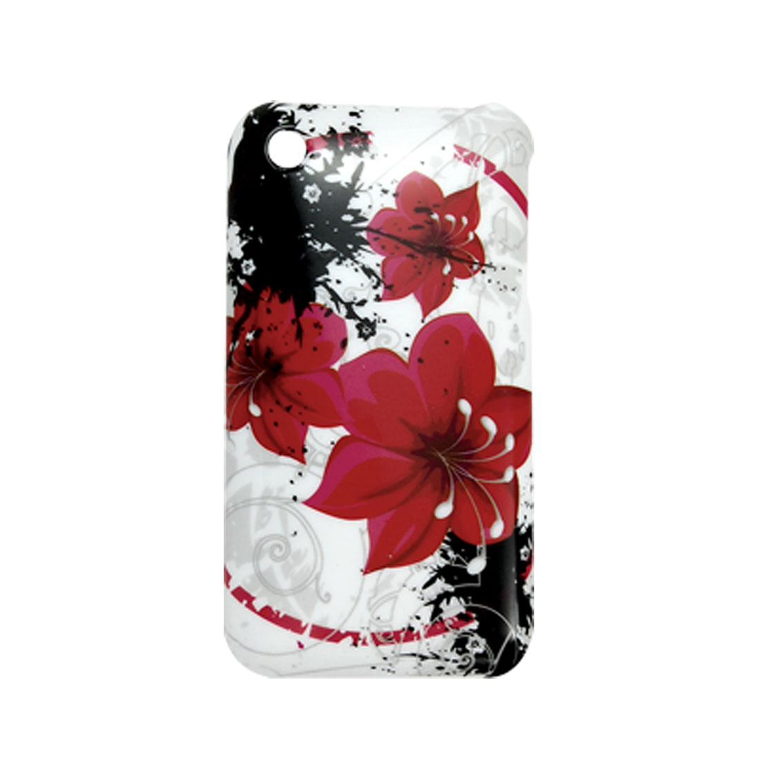 Red Flower Designs w Screen Protective Case for iPhone 3G