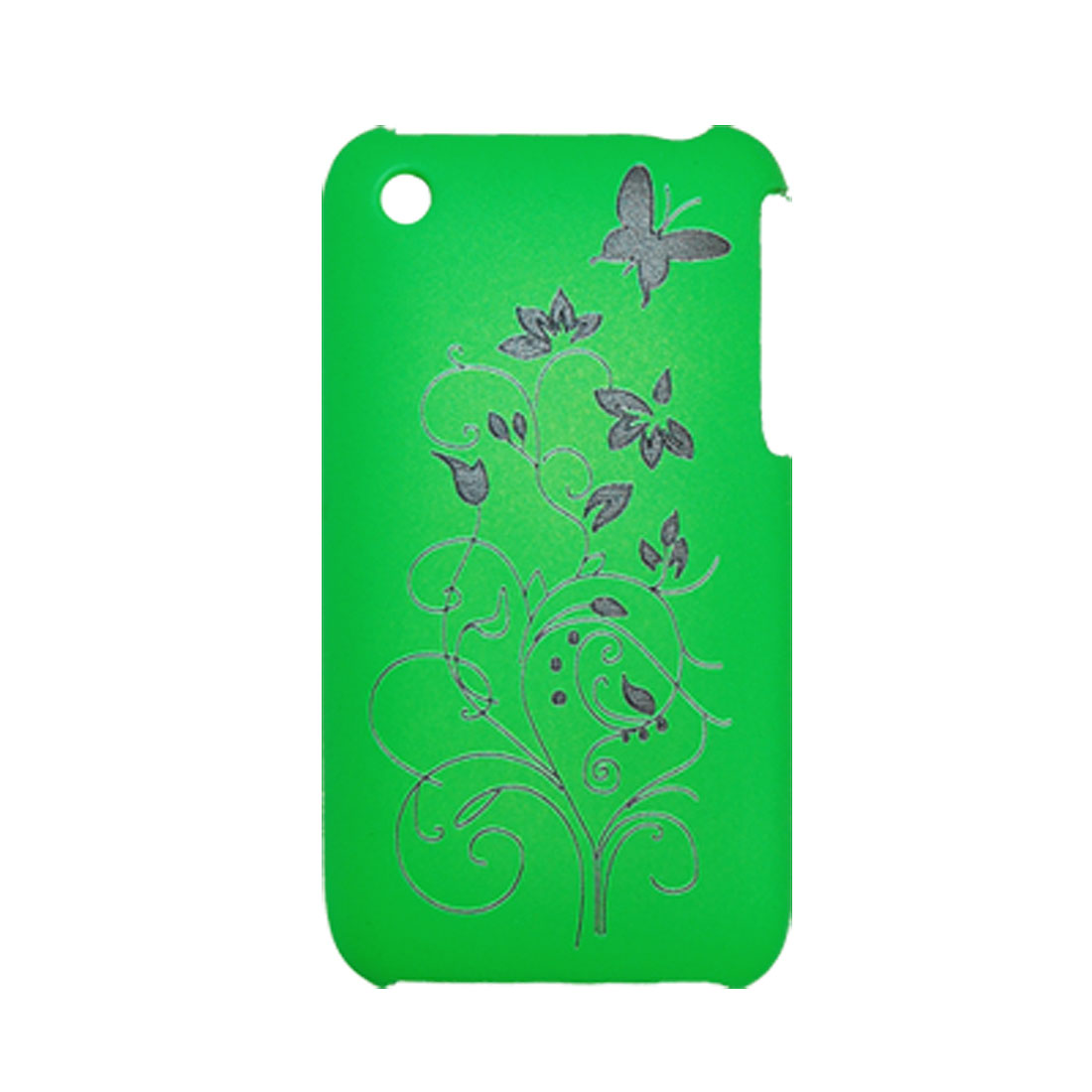 Flower Butterfly Pattern Plastic Case for iPhone 3G Green Cover