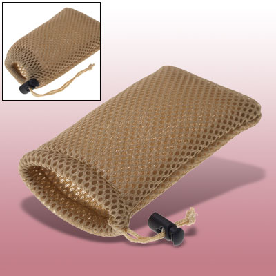 Cell Mobile Phone Tan Soft Mesh Pouch Mp3 Mp4 Nylon Bag