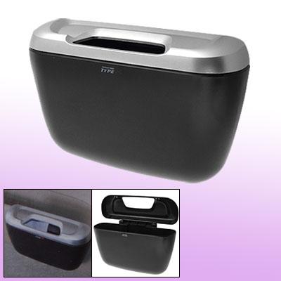 Black Silver Tone Plastic Car Auto Garbage Box w Clip