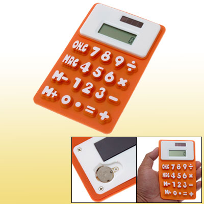 Students Soft Silicone 8 Digits Calculator Orange White