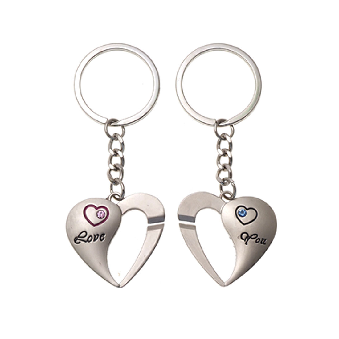 Lover Couple Pairs Silver Tone Heart Alloy Key Chain