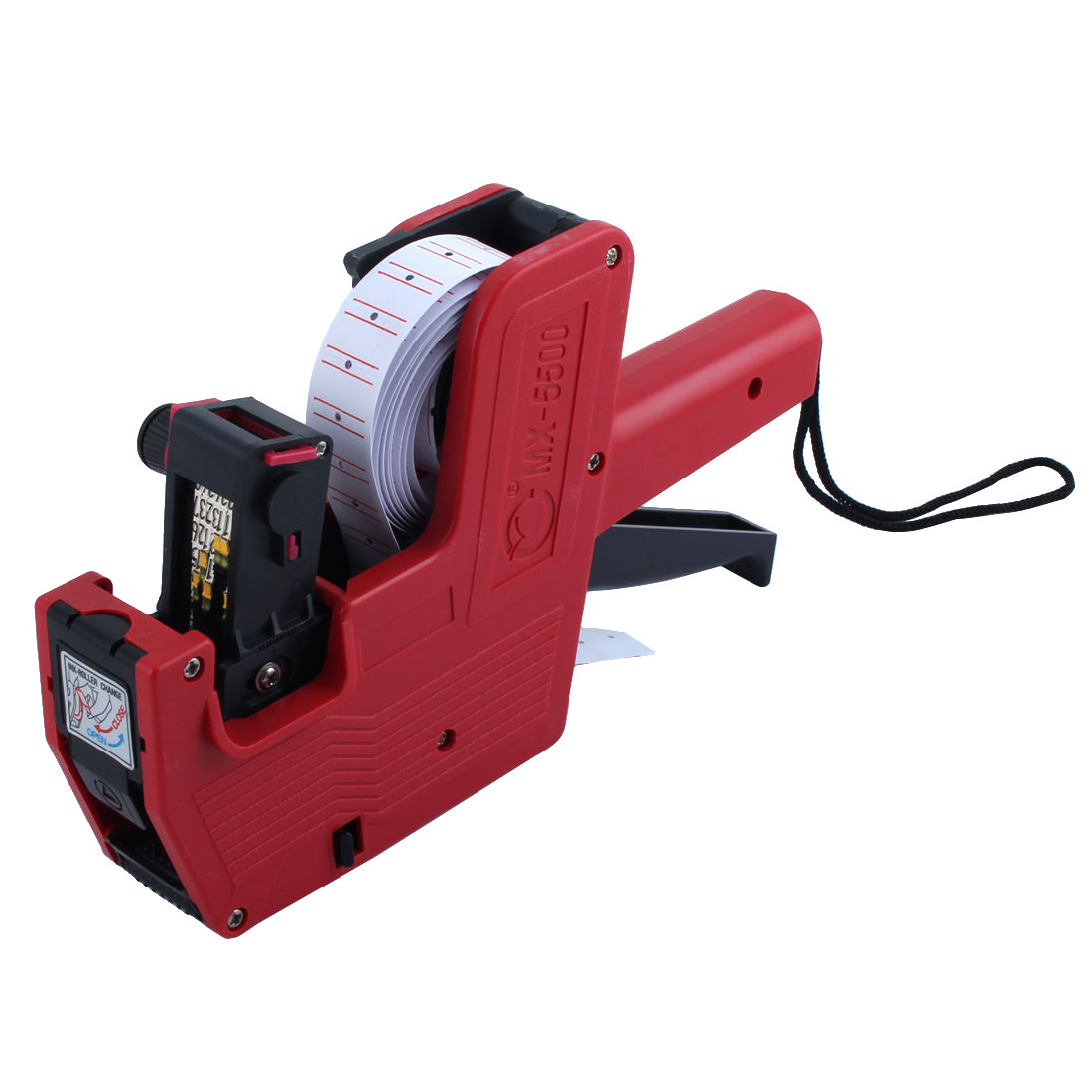 Plastic 8 Digits Hand Held Shopping Price Labeller Label Tag Gun with Strap Red