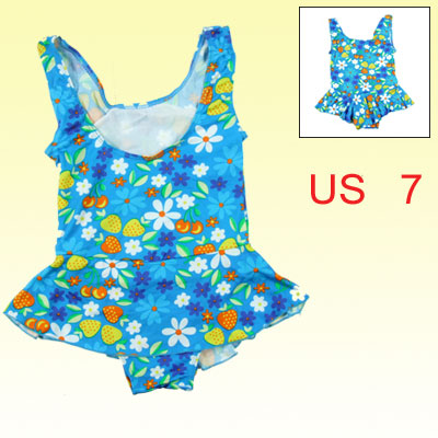 Colorful Floral Print Stretch Frill Skirt Swimsuit for Kids