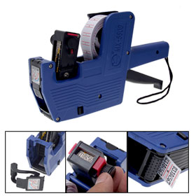 Plastic 8 Digits Hand Held Price Labeller Label Tag Gun with Strap Blue