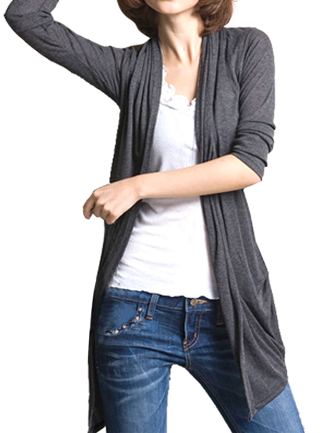 Ladies Drak Gray 3/4 Sleeves Open Front Cardigan Tops S
