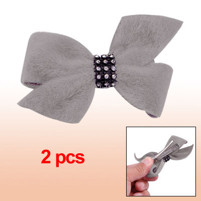 Butterfly Knot Plastic Crystal Light Grey Plush Hair Clip 2pcs
