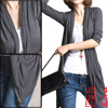 Ladies Drak Gray 3/4 Sleeves Open Front Cardigan Top S
