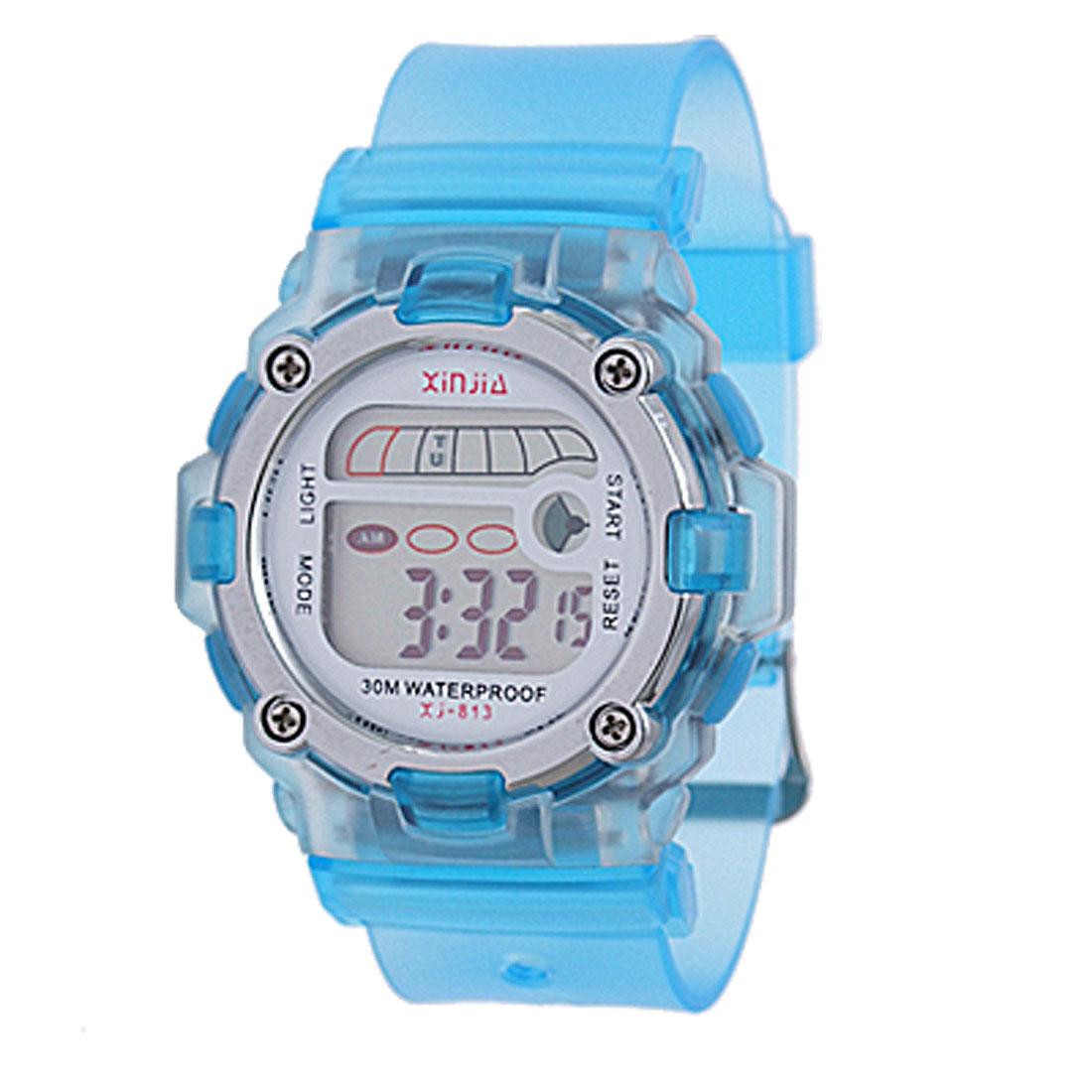 Blue Soft Plastic Band Round Case Sports Digital Watch