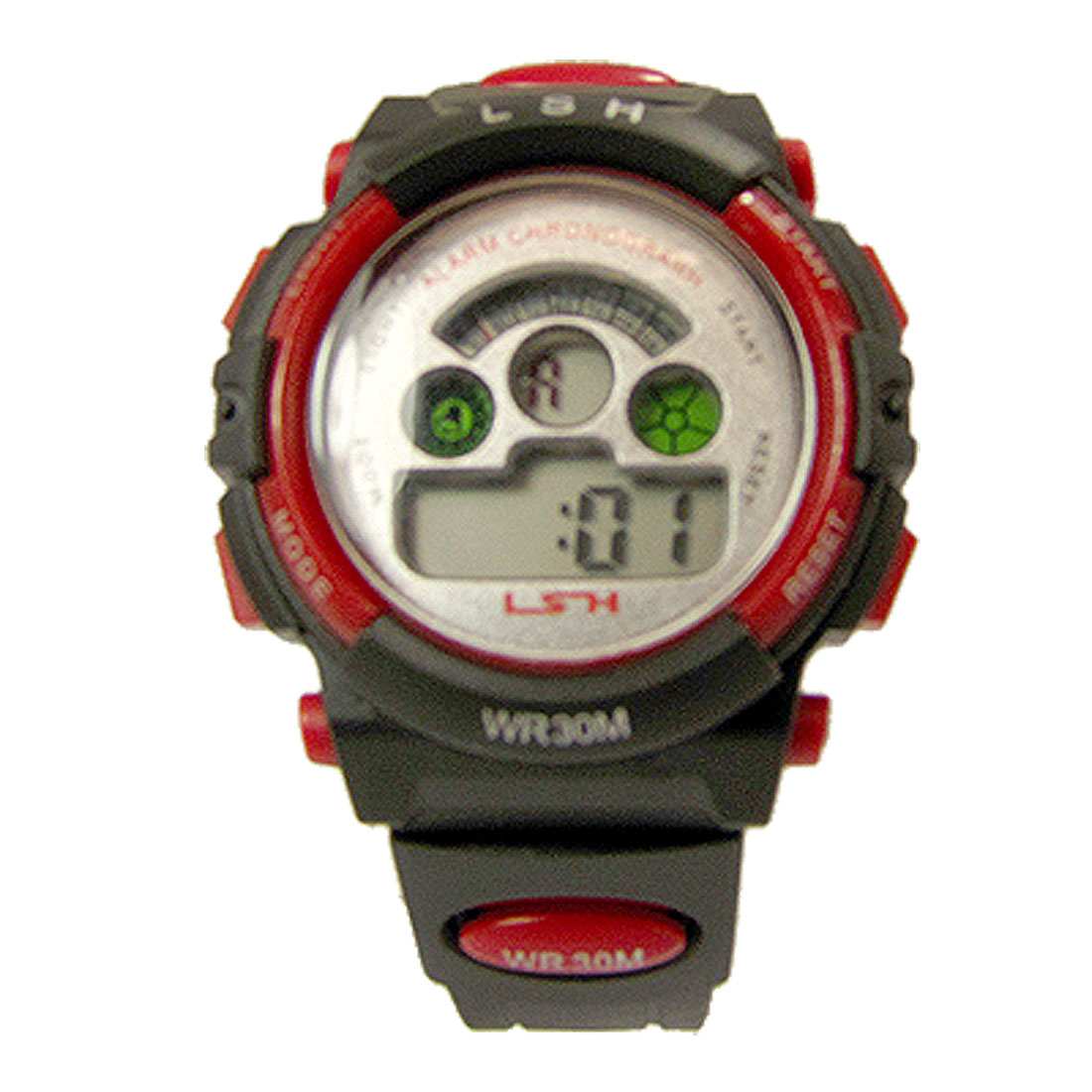 Black w Red Electronic Water Resistant Digital Childrens Sport Watch
