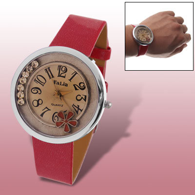 Red Faux Leather Belt Flower Round Dial Wristwatch for Women