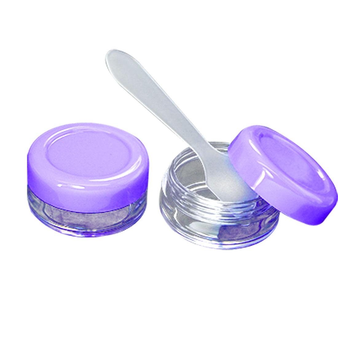 Taveling Plastic 2 PCS Purple Cosmetic Cream Box + Spoon