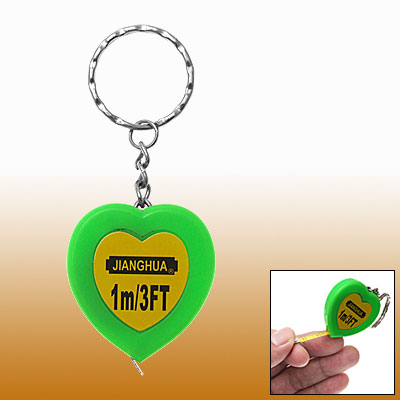 Pocket Heart Green Keychain Retractable Tape Measure Ruler