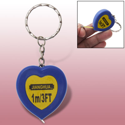 Pocket Heart Blue Keychain Retractable Tape Measure Ruler