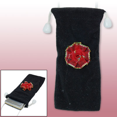 Black Velvet Cell Phone Bag w Red Flower Design