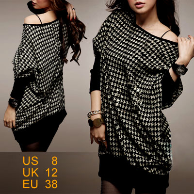 Ladies Long Sleeve Knit Batwing Dress Top Black Gray M