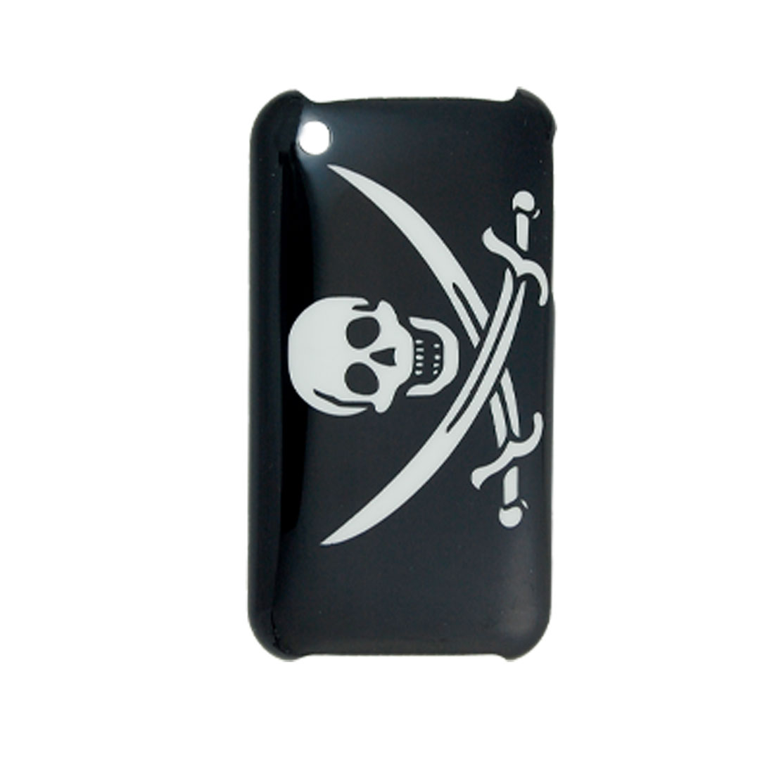 White Skull Cutter Pattern Hard Back Cover for iPhone 3G Black