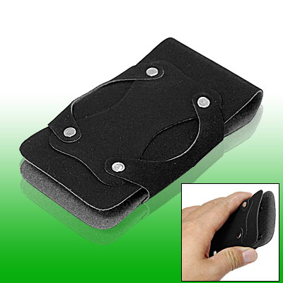 Black Faux Leather Pouch Holder for Apple iPhone 3G