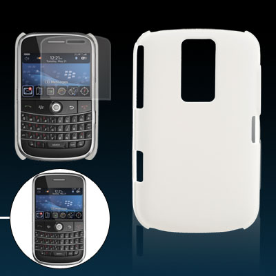 White Hard Plastic Back Case Screen Protector for Blackberry 9000