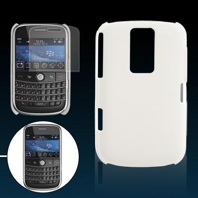 White Hard Plastic Back Case Screen Protector for Blackberry 9000
