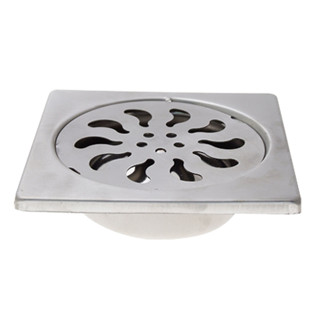 "3.5"" Metal Square Floor Drain Strainer Cover Silver Tone"