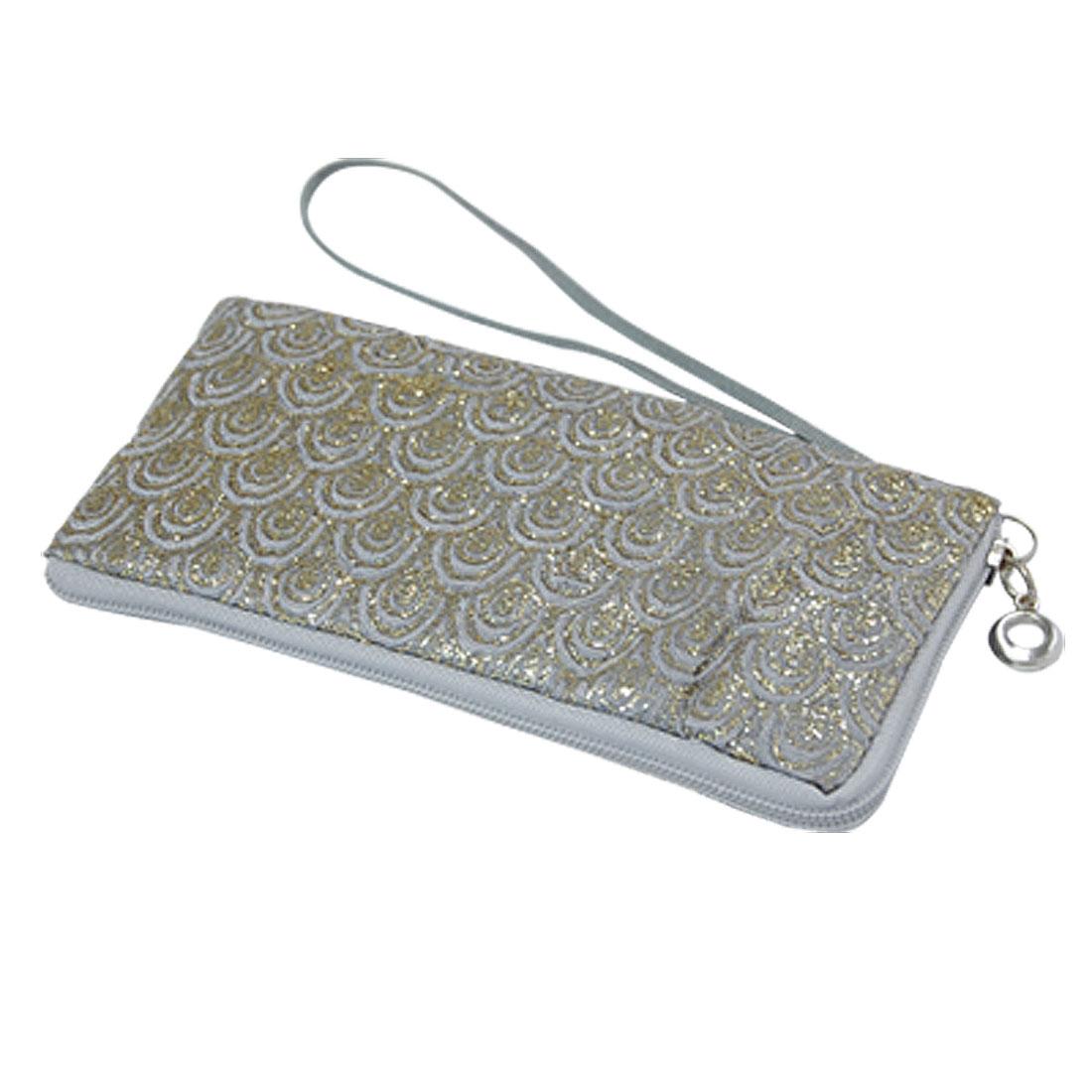 Silver Tone Glittery Nylon Flower Print Cell Phone Bag