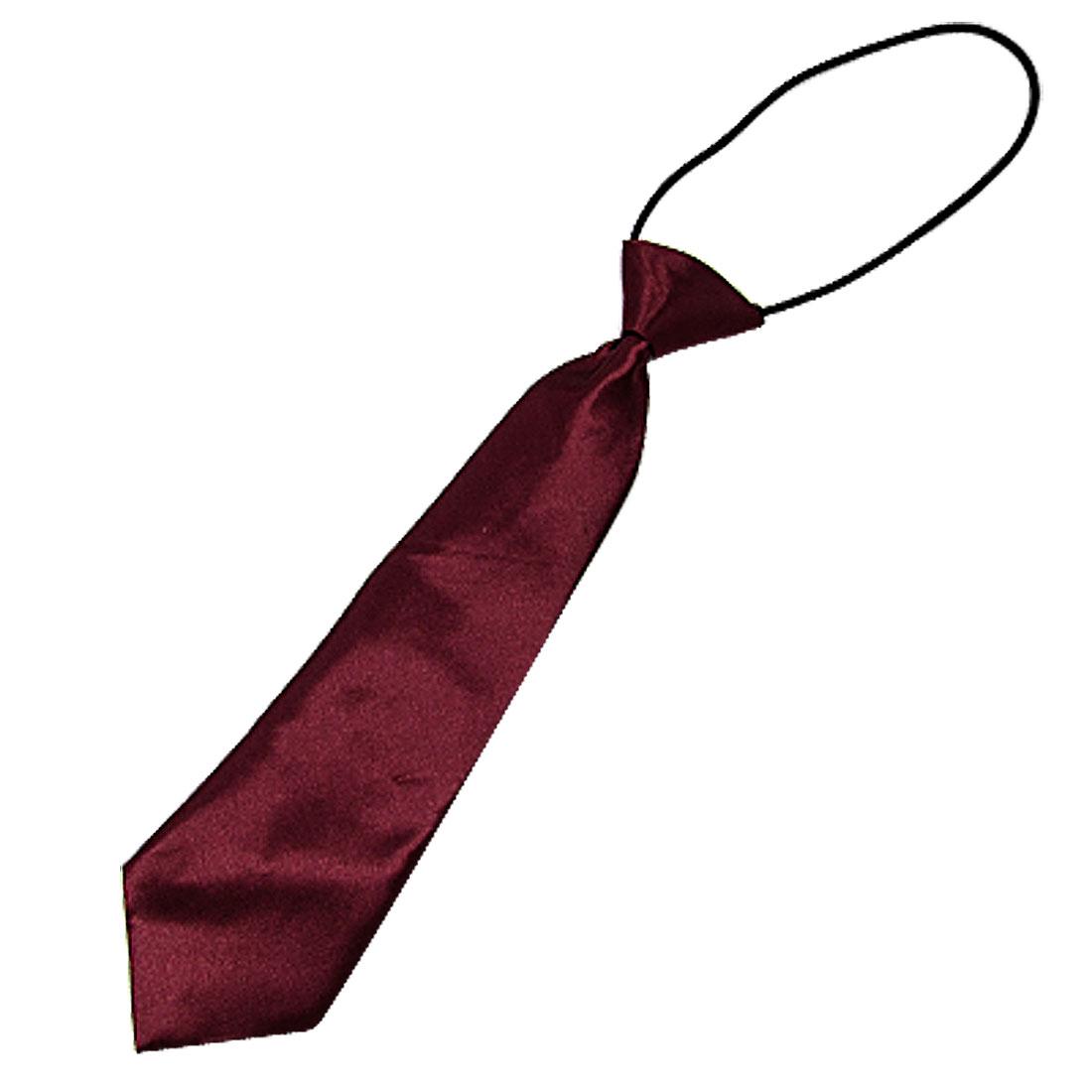 Children Dark Red Adjustable Polyester Neck Tie Necktie