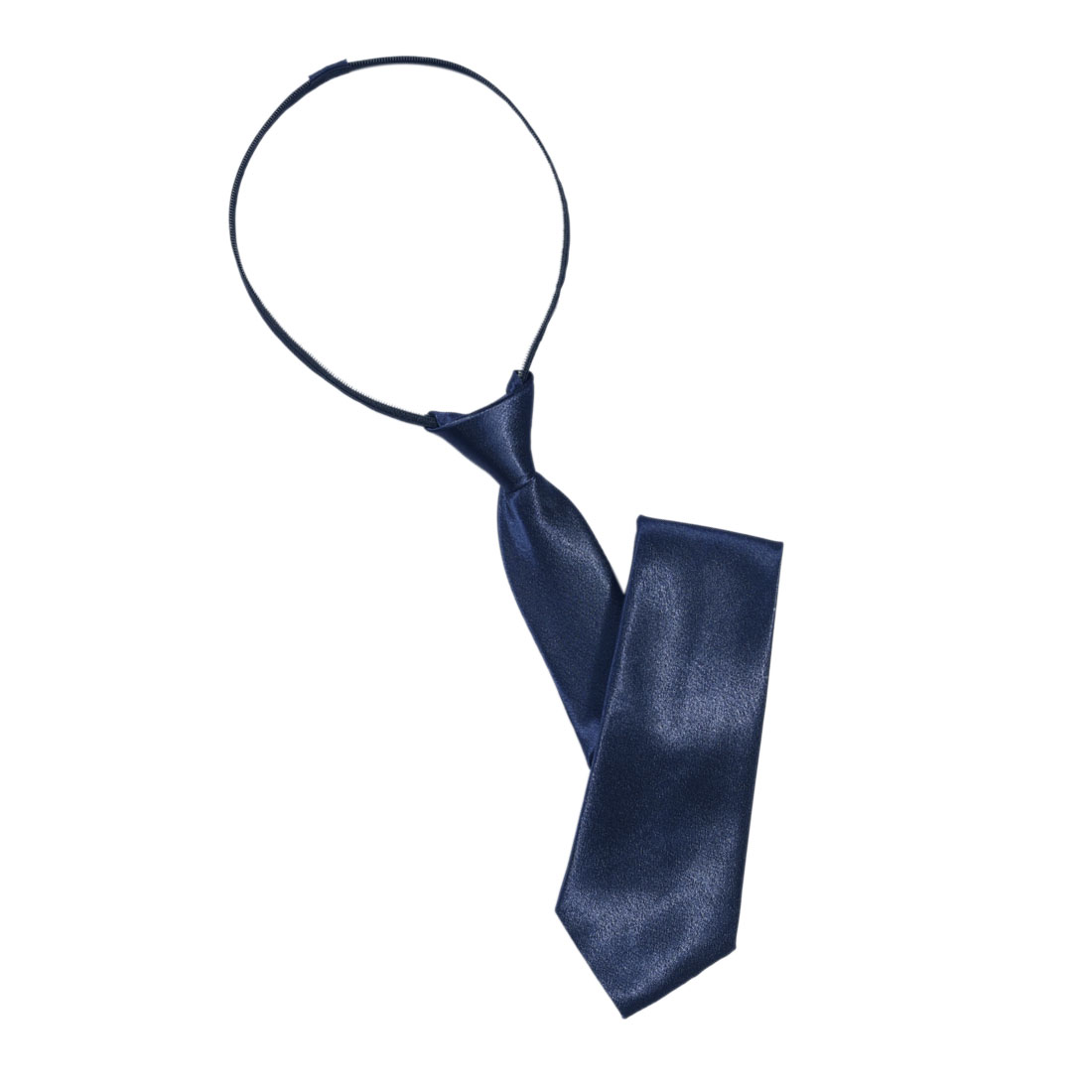 Men Dark Blue Polyster Zip Up Zipper Tie Necktie