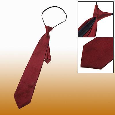 Men Polyster Zip Up Zipper Necktie Dark Red Neck Tie