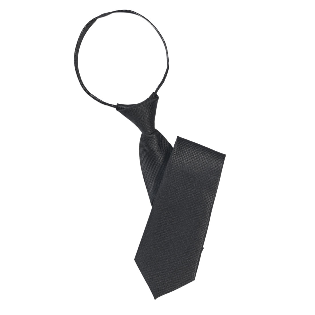 Men Solid Black Polyester Zip Up Necktie Zipper Tie Hoxwt