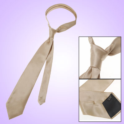 Men Smooth Polyester Skinny Necktie Tie Solid Beige