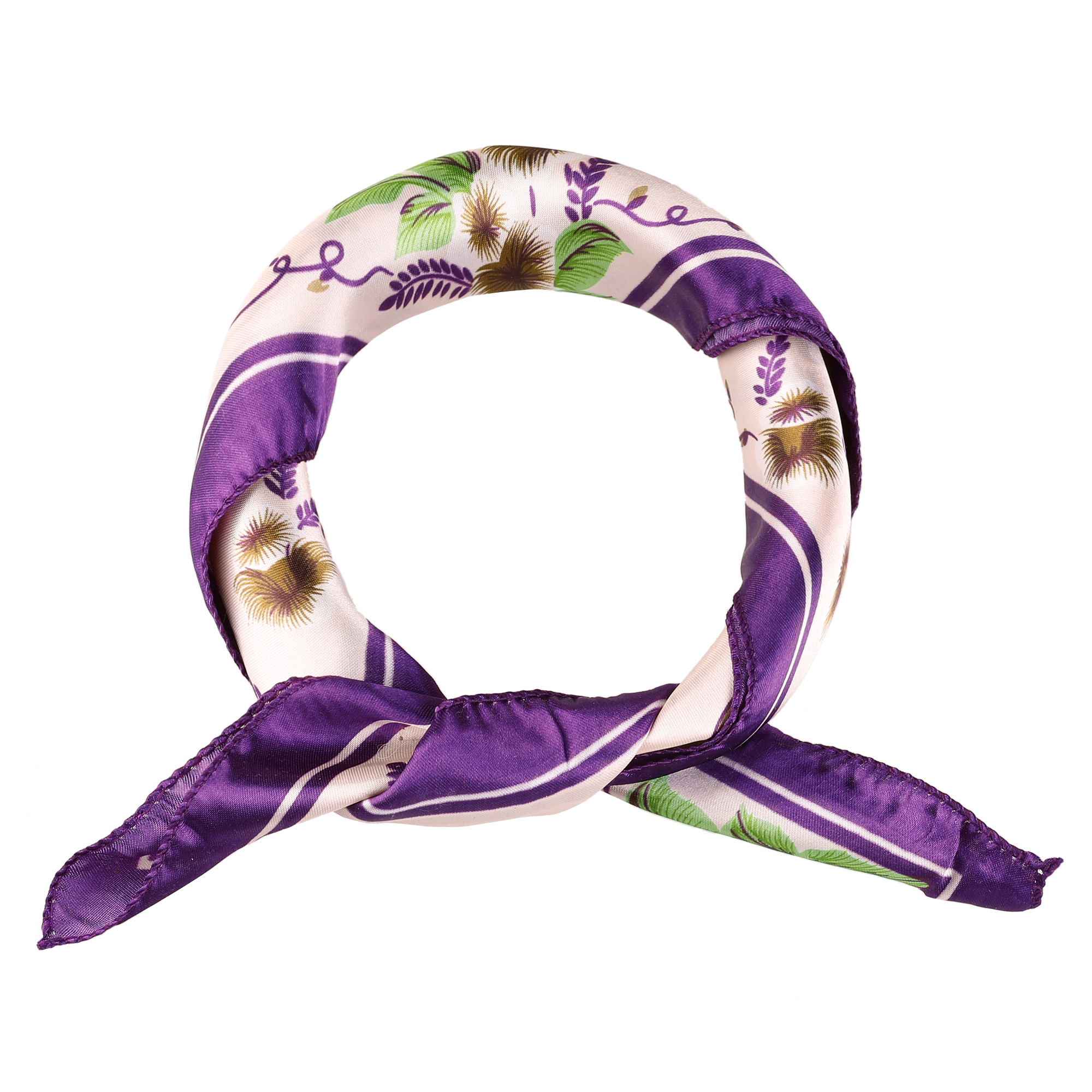 Floral Pattern Square Shaped Polyester Headband Scarf