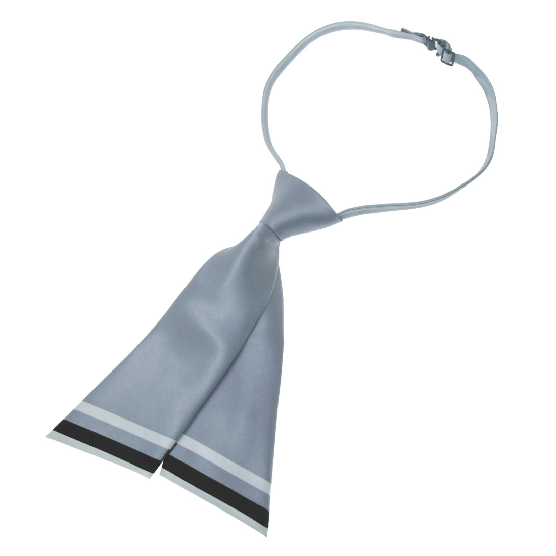 Fashion Gray White Stripes Polyster Ladies Short Necktie