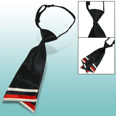 Ladies Two Layer Neck Tie Diagonal Stripe Necktie Black