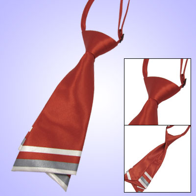 Ladies Striped Hem Neck Tie Diagonal Stripe Necktie Red