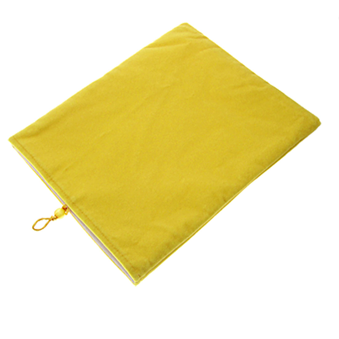 Yellow Two Layer Soft Plush Button Pouch Bag for Notebook Laptop