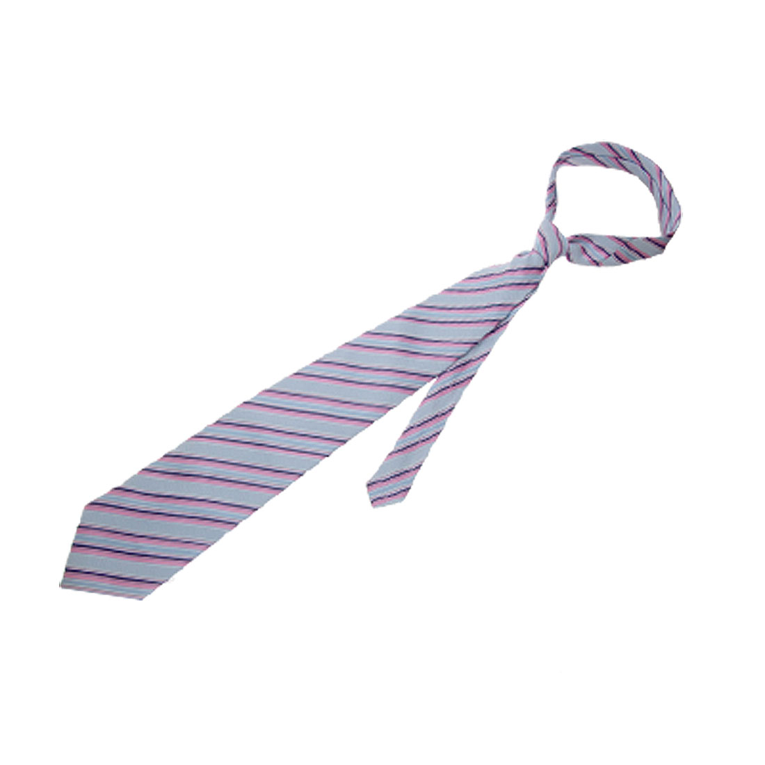 Men Stylish Polyester Tie Diagonal Bar Striped Necktie