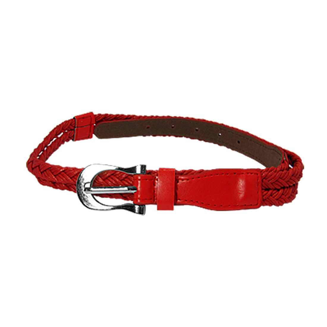 Double String Braided Faux Leather Slim Waistband for Ladies Red