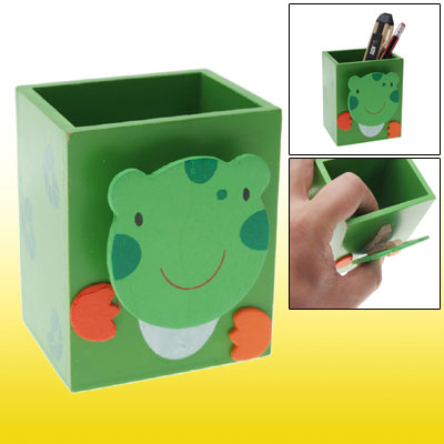 Eco-friendly Wooden Green Pencil Holder w Frog Memo Clip