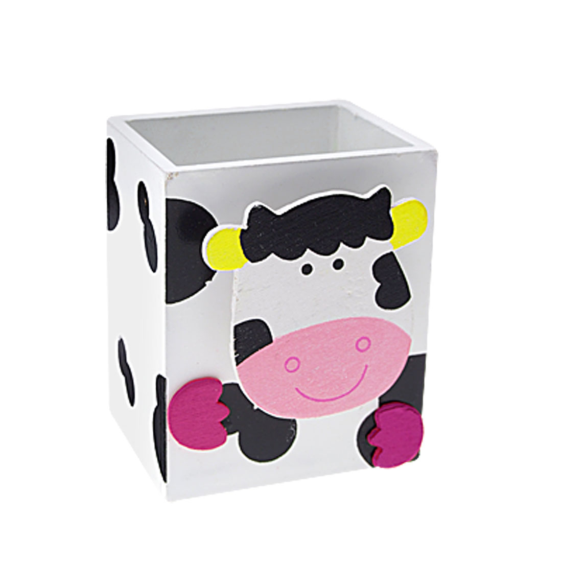 Cow Decor Memo Clip White Cuboid Wooden Pen Holder