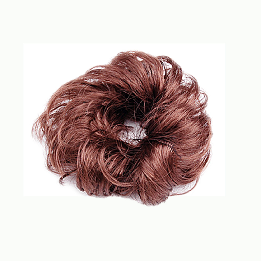 Ladies Synthetic Hair Wave Curly Hairpiece Bun Wig Brown