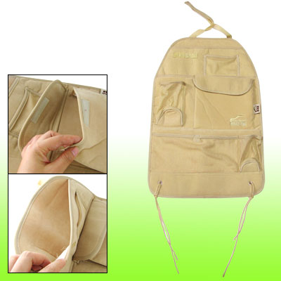 Foldable Polyester Cloth Khaki Car Seat Backpack Organizer