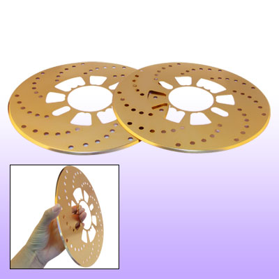 2 Pcs Car Auto Brake Rotor Cross Drilled Covers Gold Tone