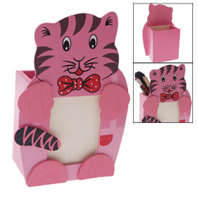 Cute Tiger Design Wooden Pen Holder w Photo Frame Pink